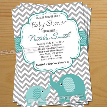 Boy Baby Shower Invitation Elephant Free Thank You Card