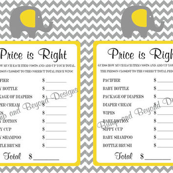 Baby Shower Game The Price Is Right Diy Printable Instant Yellow Grey Chevron