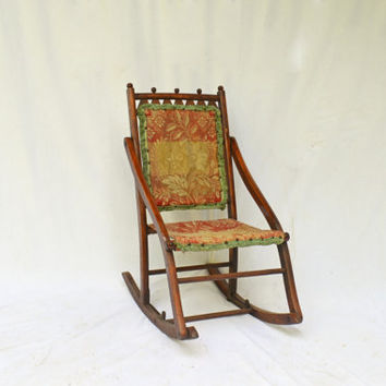 Antique Folding Rocking Chair Carpet Covered Rocker Victorian Style Furniture American Historical