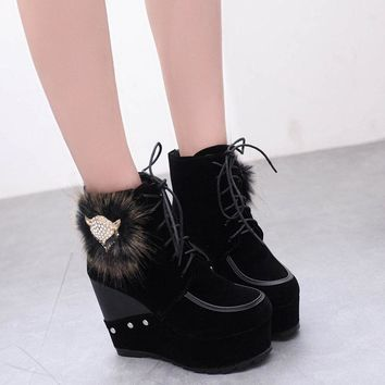 Fox Head Faux Fur Lace UP Platform High Wedge Ankle Boots