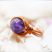 Charisma - Amethyst wire wrapped ring (SR)