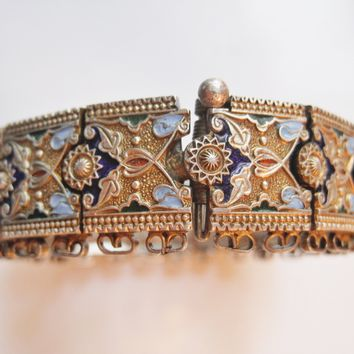 Vintage Turkish Silver and Enamel Caucasian Style Bracelet