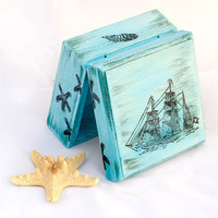"Sea Treasury Pirate Wooden Box.Blue box,  Treasury  Box ,  Jewelry box , distressed box , vintage  3 1/2 x 3 1/2 x 2 "" - 9 x 9 x4,5 cm"