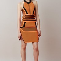Alexander Wang Engineered Bicolor Mesh Halter Dress - WOMEN - JUST IN - Alexander Wang