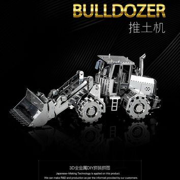BULLDOZER HKNANYUAN Engineering car series 2D to 3D puzzle Metal assembly model Creative toys DIY Classic collection