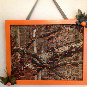 Realtree Camouflage hunter orange decor teen boy baby photo hair bow organizer holder display bulletin board army green brown, trees, leaves
