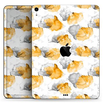"Karamfila Yellow & Gray Floral V15 - Full Body Skin Decal for the Apple iPad Pro 12.9"", 11"", 10.5"", 9.7"", Air or Mini (All Models Available)"