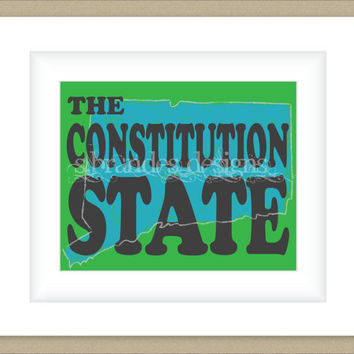 8x10 Connecticut Print, Constitution State Map Art Custom Colors