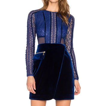 Three Floor La Bleu Lace Front Dress in Royal