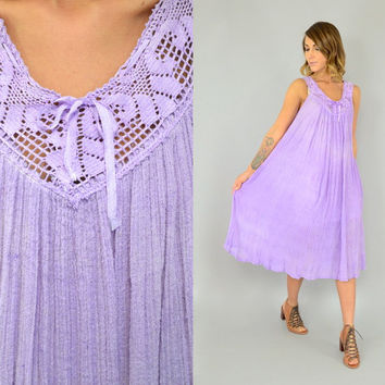 vtg 70s Lavender COTTON GAUZE Hippie bohemian gypsy festival Crochet + Crinkle Tent DRESS, extra small-medium