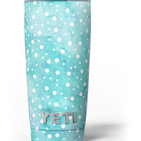 Light Blue and White Watercolor Polka Dots Yeti Rambler Skin Kit