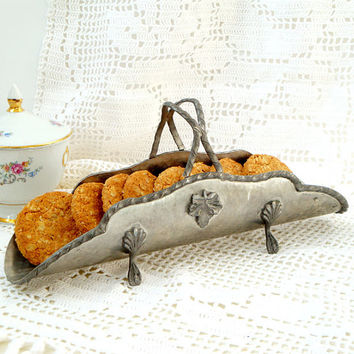 Antique Italian Pewter Breadstick Server, Pewter Cookie & Cracker Basket ,vintage napkin holder , vintage Centerpiece