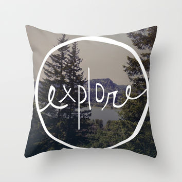 Explore Oregon Throw Pillow by Leah Flores