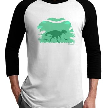 Dinosaur Silhouettes - Jungle Adult Raglan Shirt by TooLoud
