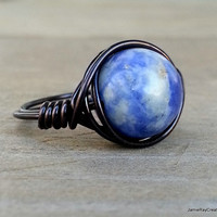 Black Wire Wrapped Blue Sodalite Ring, Blue Gemstone Wrapped in Black Copper Wire, Boho Hippie Ring, Blue Stone Ring, Black Wire Wrap Ring