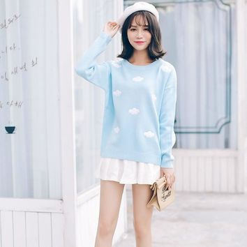 Kawaii Embroidery Clouds Knit Sweater