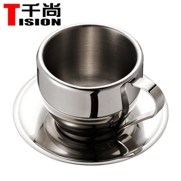 TISION 250ml Double wall stainless steel coffee cups and mugs espresso cup set tea cup and saucer