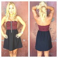 Maroon Aztec Bodice Strapless Dress