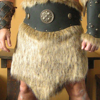 Medieval Celtic Viking Barbarian Leather Belt Deluxe with Fur Skirt