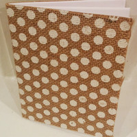 Polka Dot Burlap Notebook - mini, journal, diary, wedding, gift, favors
