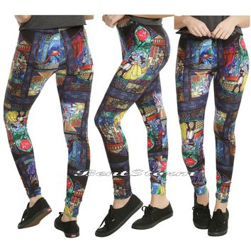 Licensed cool Disney Beauty & The Beast Stained Glass Leggings Enchanted Rose Yoga Pants S-2X