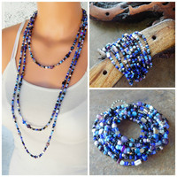 Super long necklace beaded 10x wrap bracelet blue and purple beaded layering statement necklace versatile one of a kind bohemian jewelry