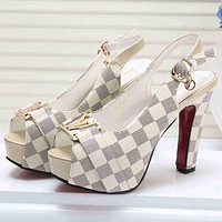 LV Louis Vuitton Women Fashion Casual Peep Toe Slingback High Heels Shoes