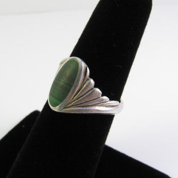 Vintage Sterling Silver Malachite Ring, Native American Ring, Navajo Ring, Vintage Turquoise Ring Size 5.25