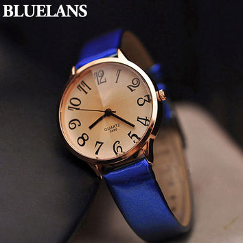 Good Choice Stylish Designed Women's Faux Leather Strap Big Digit Analog Dress Wrist Watch