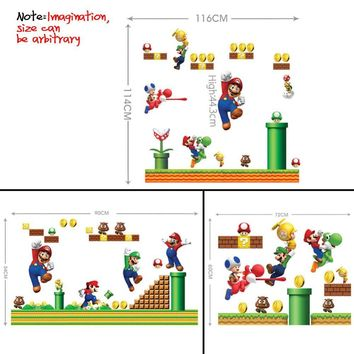 Super Mario party nes switch  Wall Sticker Removable Cartoon Decor for Kindergarten Kids Rooms Diy Poster Art Decals Modern PVC Wall Stickers AT_80_8