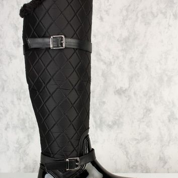 Black Quilted Detailing Pointy Round Toe Rain Boots Nylon