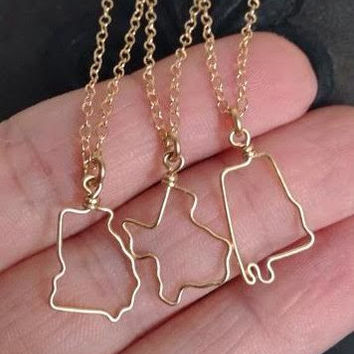 State Love Outline Necklace