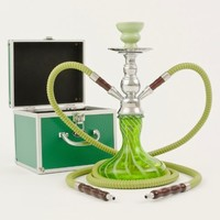 AYSHA Spira Premium Handblown Glass Hookah - 2 Hose / Includes Carry Case & Accessories (Green)