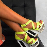 Cut Out Strappy Platform High Heels - White / Neon Yellow from Fashion Thirsty