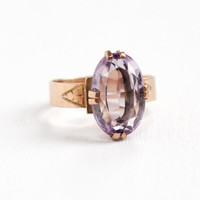 Antique Victorian 10k Rose Gold Rose de France Amethyst Ring - Late 1800s Size 7 1/4 1800s Large Gemstone Fine Jewelry