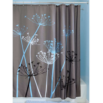 Grey Blue Floral Modern 72 x 72 inch Shower Curtain