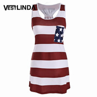 VESTLIND American Flag Print Patriotic Racerback Tank Dress Women Sleeveless Mini Dresses Summer Casual USA Flag Dress Vestidos