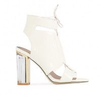 Dom Patent Lace Up Lucite Heels White