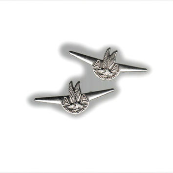 2 American Airlines Junior Pilot Pins with pre-1962 logo