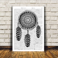 Dreamcatcher poster Native American print Wall decor Tribal art RTA192