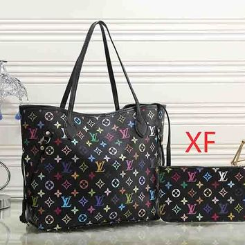 Louis Vuitton Women Print Leather Shoulder Bag Satchel Tote Handbag Crossbody
