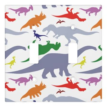 Colorful Dinosaur Pattern (Light) Light Switch Cover