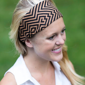 Handmade Knit Headband. Southwestern Black and Brown Aztec
