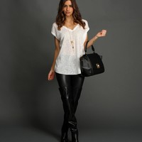 Sale-white Oversized Hacci Top