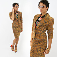 vintage 80s BLOOMINGDALES leather LEOPARD print high waist pencil skirt set size XS/S