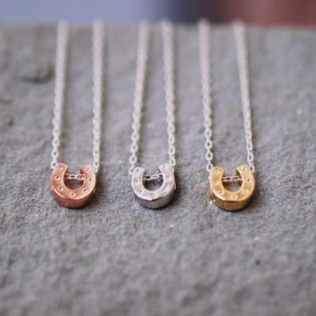 190 Lucky Horseshoe Necklace with Sterling Silver Chain - minimalist jewelry by lustre