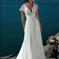 Beach A-line White Chiffon Wedding Dress Style AD3395