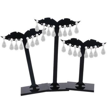 ac PEAPO2Q 3Pcs Earring Ear Stud Jewelry Display Holder Tree Storage Hanger Plastic Stand Show Rack