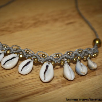 Macramé Necklace Tiara Headband with Healing White Agate Brass beads and Natural Cowrie Shells – Gypsy Bohemian – Hippie – Native –