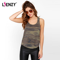 LIENZY 2016 Summer Casual T-Shirt Camouflage Women O Neck Strap Irregular Hem Loose Casual Women Gym Tank Top